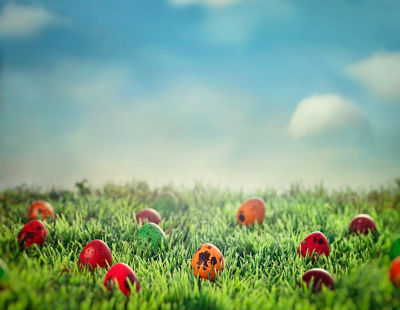Easter eggs scattered in grass on sunny day