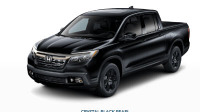 Crystal Black Pearl 2019 Honda Ridgeline front fascia and driver side