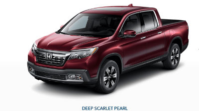 Deep Scarlet Pearl 2019 Honda Ridgeline front fascia and driver side