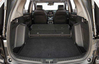 2019 Honda CR-V interior back cabin cargo space looking up at front seats