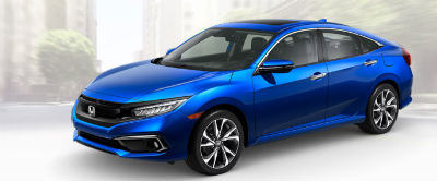 2019 Honda Civic exterior front fascia and drivers side Aegean Blue Metallic