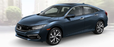 2019 Honda Civic exterior front fascia and drivers side Cosmic Blue Metallic