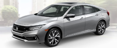 2019 Honda Civic exterior front fascia and drivers side Lunar Silver Metallic
