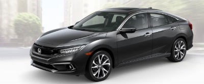 2019 Honda Civic exterior front fascia and drivers side Modern Steel Metallic