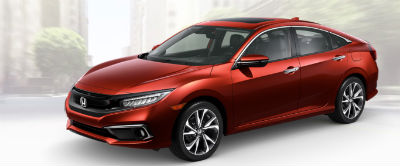 2019 Honda Civic exterior front fascia and drivers side Molten Lava Pearl
