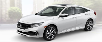 2019 Honda Civic exterior front fascia and drivers side Platinum White Pearl