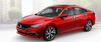 2019 Honda Civic exterior front fascia and drivers side Rallye Red
