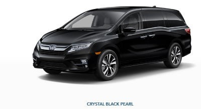 2019 Honda Odyssey exterior front fascia and drivers side Crystal Black Pearl