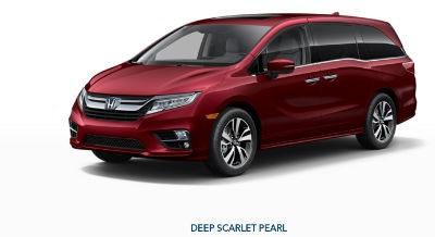 2019 Honda Odyssey exterior front fascia and drivers side Deep Scarlet Pearl