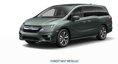 2019 Honda Odyssey exterior front fascia and drivers side Forest Mist Metallic
