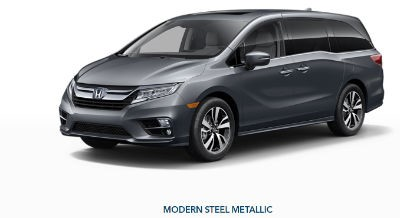 2019 Honda Odyssey exterior front fascia and drivers side Modern Steel Metallic