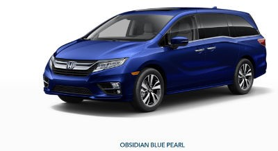 2019 Honda Odyssey exterior front fascia and drivers side Obsidian Blue Pearl