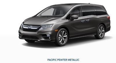 2019 Honda Odyssey exterior front fascia and drivers side Pacific Peweter Metallic