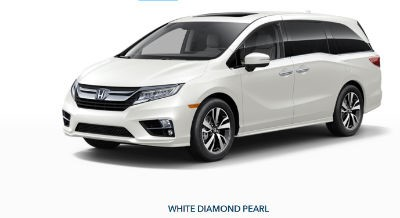 2019 Honda Odyssey exterior front fascia and drivers side White Diamond Pearl