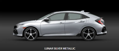 Lunar Silver Metallic 2020 Honda Civic Hatchback exterior driver side profile