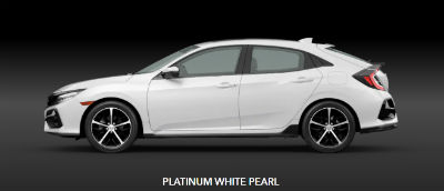 Platinum White Pearl 2020 Honda Civic Hatchback exterior- side profile
