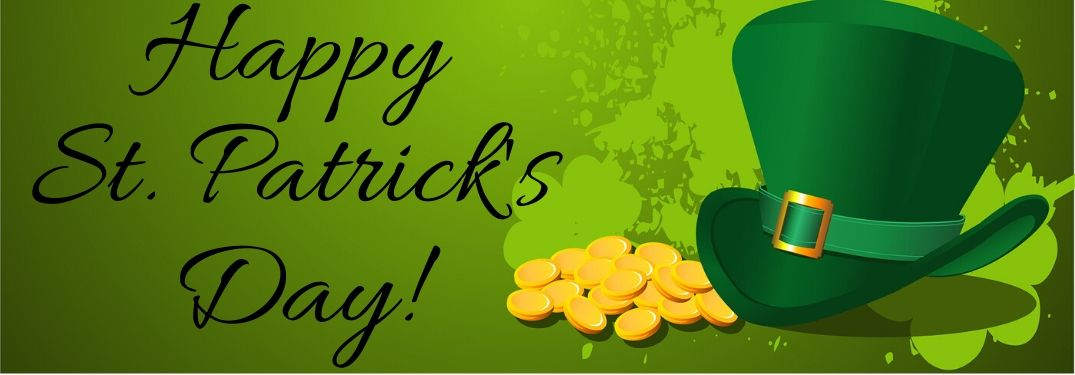 """Green top hat and pile of gold on gold background with black """"Happy St. Patrick's Day"""" text"""