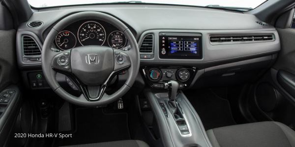 Steering wheel and dashboard in 2020 Honda HR-V Sport