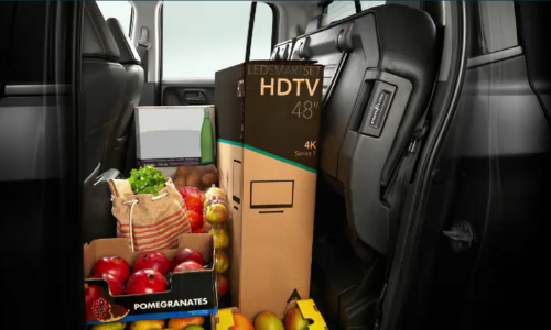 Rear seats up with shopping items in 2020 Honda Ridgeline