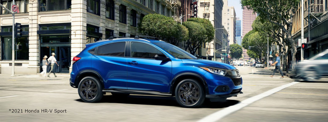 Blue 2021 Honda HR-V driving