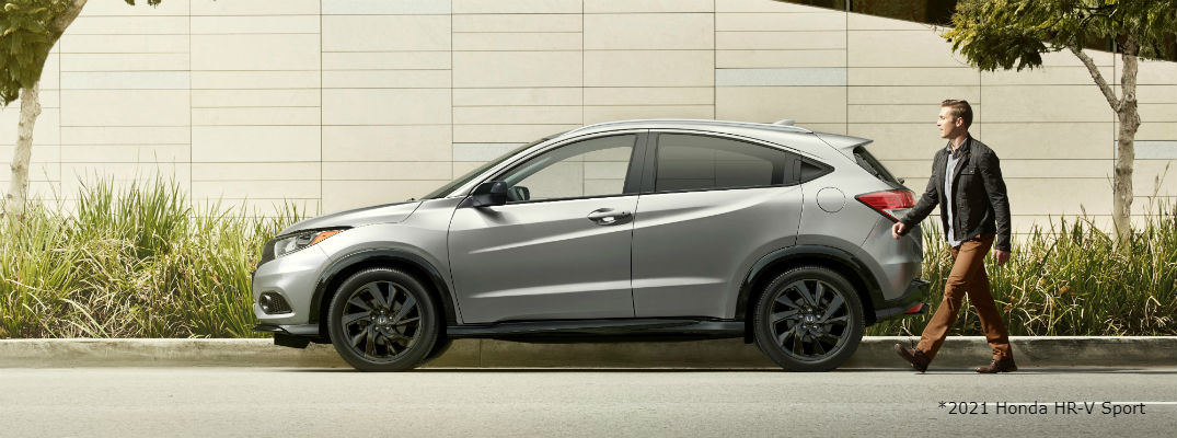 Side view of silver 2021 Honda HR-V Sport