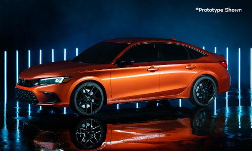 Orange 2022 Honda Civic prototype