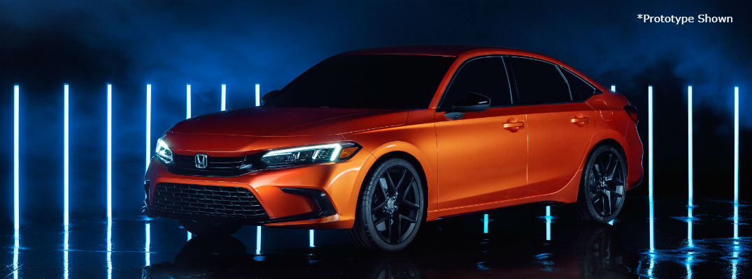 Orange 2022 Honda Civic prototype
