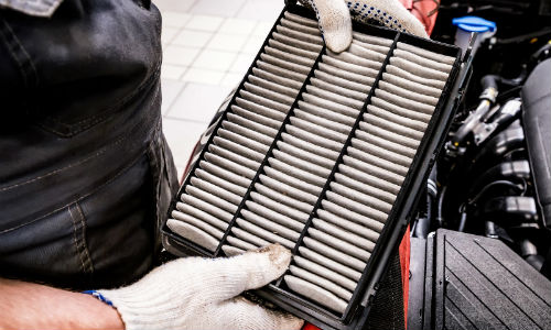 Mechanic holding cabin air filter