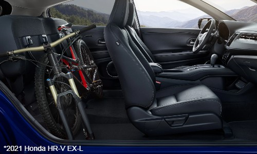 Bike in back seat of 2021 Honda HR-V EX-L