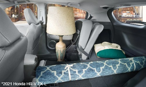 Lamp and rug in back seat of 2021 Honda HR-V EX-L