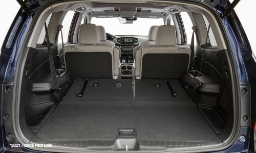 Cargo area in 2021 Honda Pilot Elite