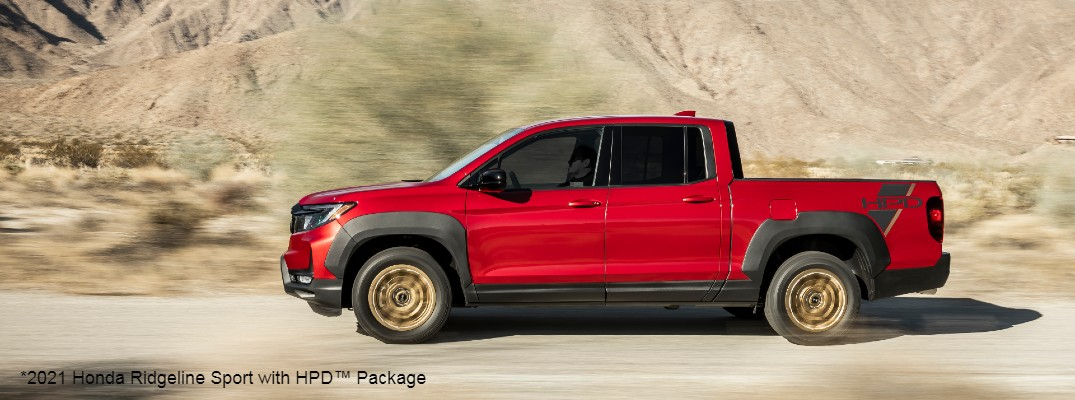Red 2021 Honda Ridgeline Sport with HPD Package