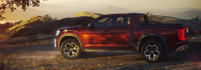 Side profile of red VW Atlas Tanoak