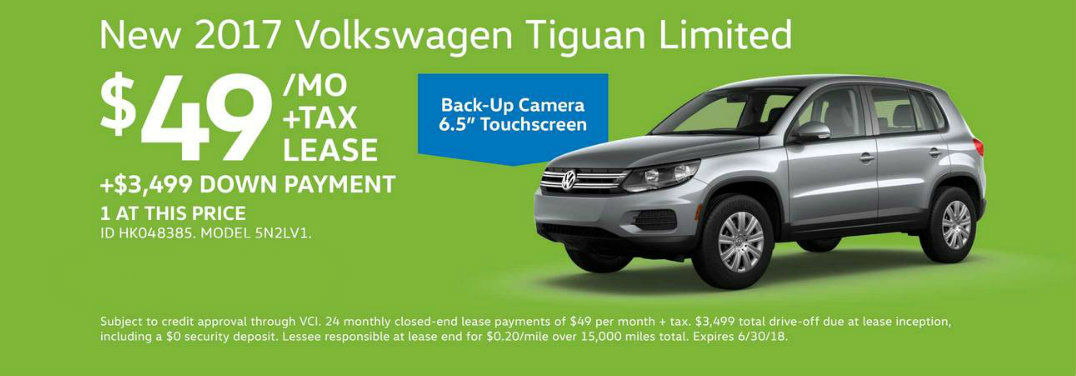 $49 per month lease banner for the 2017 Volkswagen Tiguan Limited