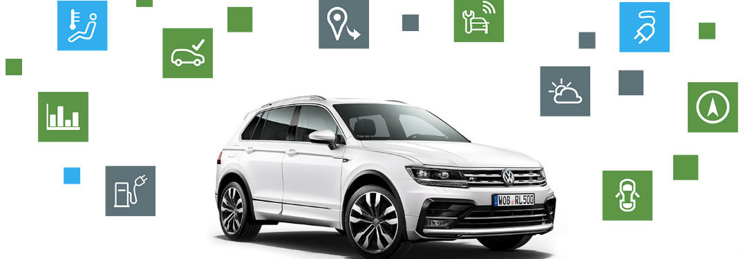 Volkswagen Tiguan surrounded by symbols representing different Car-Net features