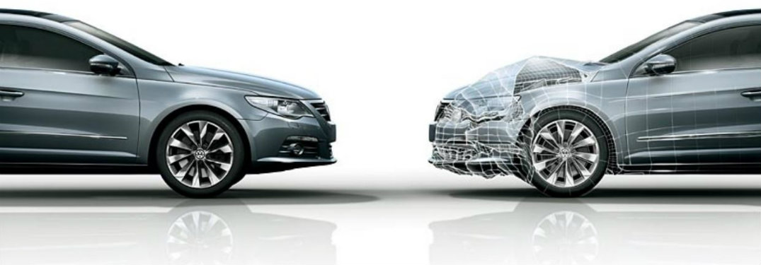 Side profile of two cars facing each other with crumple zones marked on right hand car