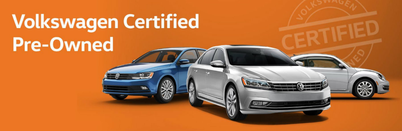 Orange banner highlighting the Volkswagen Certified Pre-Owned vehicles