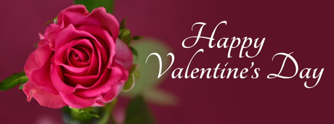 """Happy Valentine's Day"" in white script against maroon background with red rose"