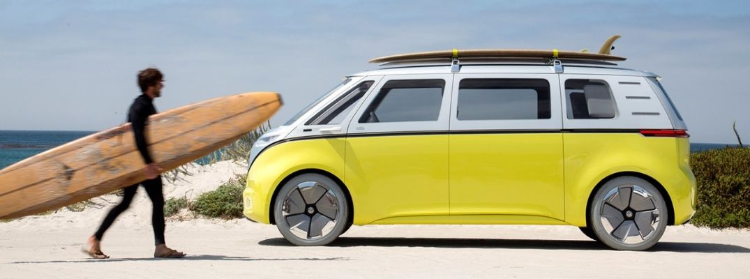 Exterior view of a yellow Volkswagen ID. BUZZ Concept Vehicle