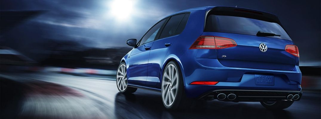 Exterior view of the rear of a blue 2019 Volkswagen Golf R