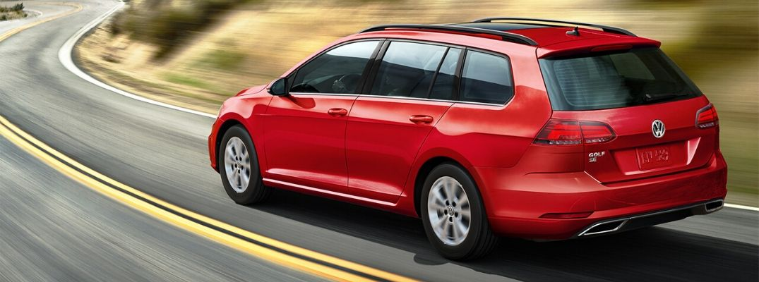 Exterior view of a red 2019 Volkswagen Golf SportWagen