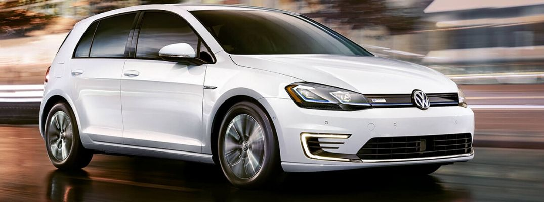 Exterior view of a white 2019 Volkswagen e-Golf