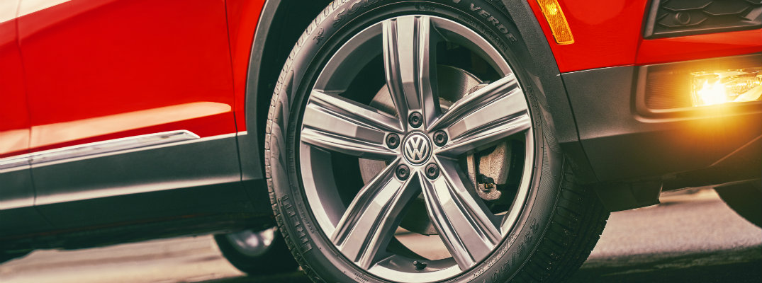 Wheel and tire on a Volkswagen vehicle