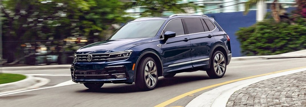 2021 VW Tiguan exterior front fascia driver side on blurred road