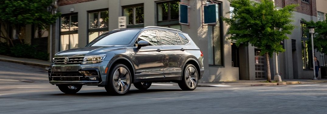 2021 VW Tiguan exterior front fascia driver side in town