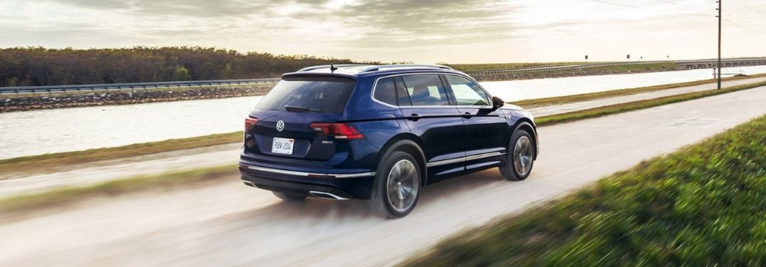 2021 VW Tiguan exterior rear fascia passenger side on blurred road