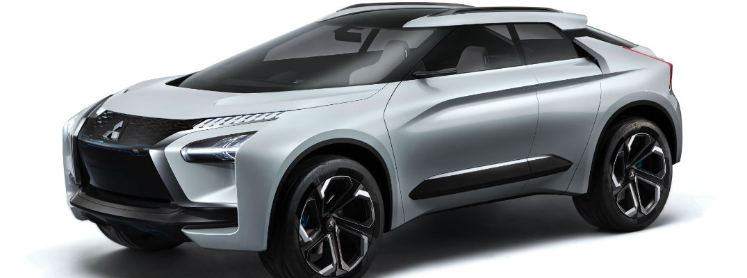 An artist's rendering of the Mitsubishi e-Evolution concept vehicle on display at the Tokyo Motor Show