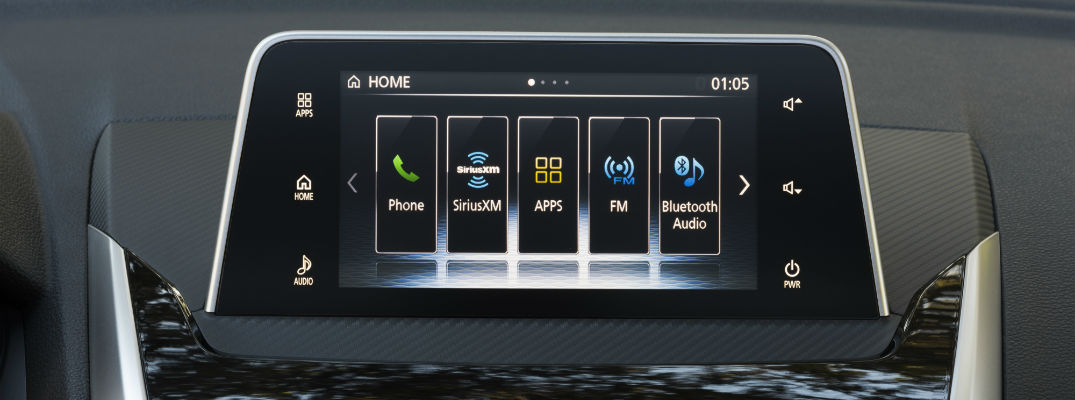 A close up photo showing the various features available with the Mitsubishi Connect system.