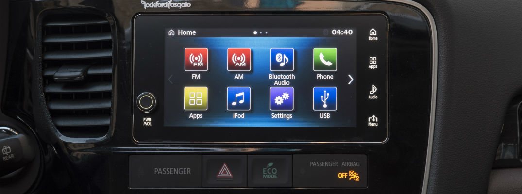 A close up photo of the infotainment system's touchscreen in many Mitsubishi vehicles.