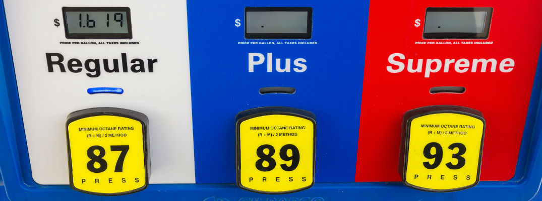 A stock photo of a gas pump with different grades available.